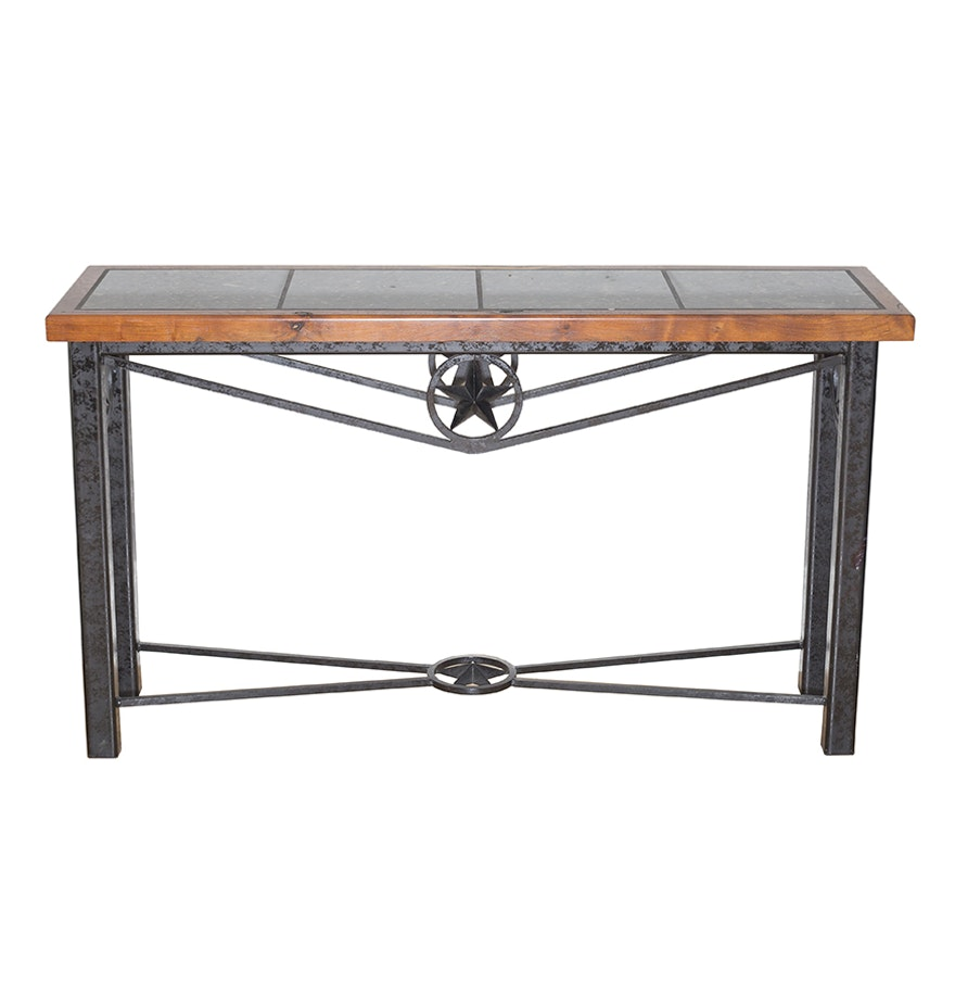 Western style sofa table with mesquite wood and granite tile top geotapseo Image collections