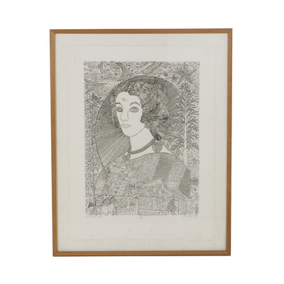 "Howard Finster Etching on Paper ""Queen Henrietta"""