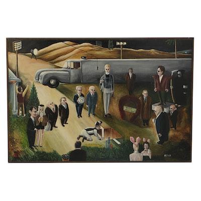 """K.C. Truschel Oil Painting on Board """"Hooray for Wally Hood"""""""