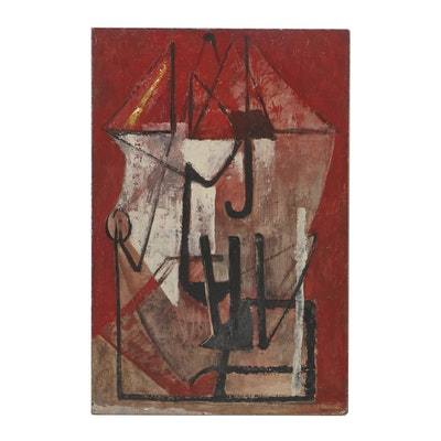 "Louise Pershing Oil Painting on Masonite ""Umbrella"""