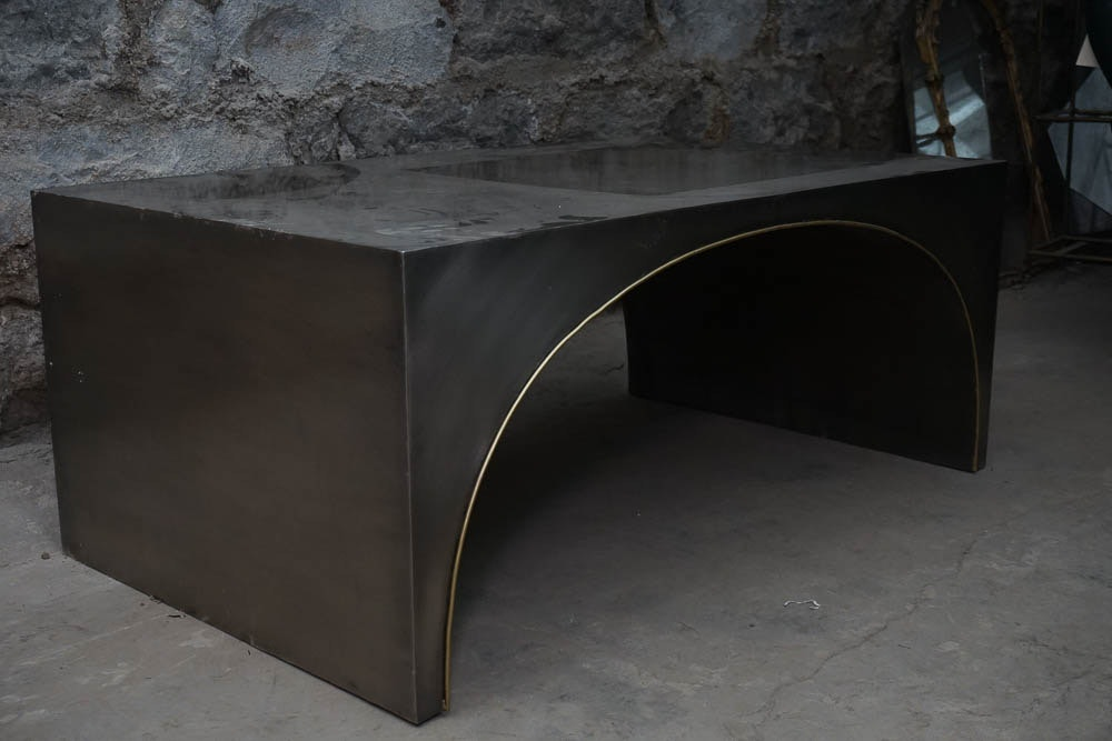 Industrial Style Arched Sheet Metal Coffee Table Ebth