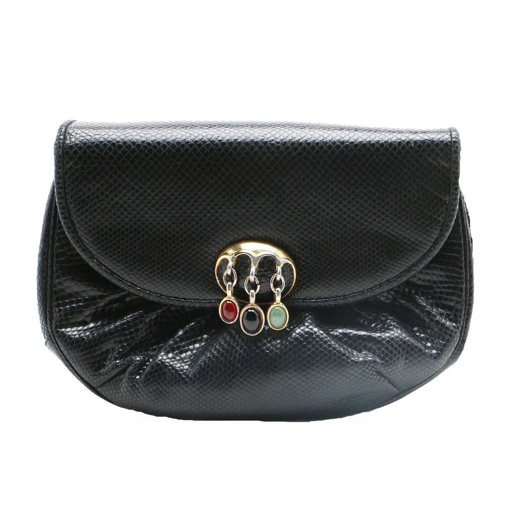 Judith Leiber Black Leather Evening Bag