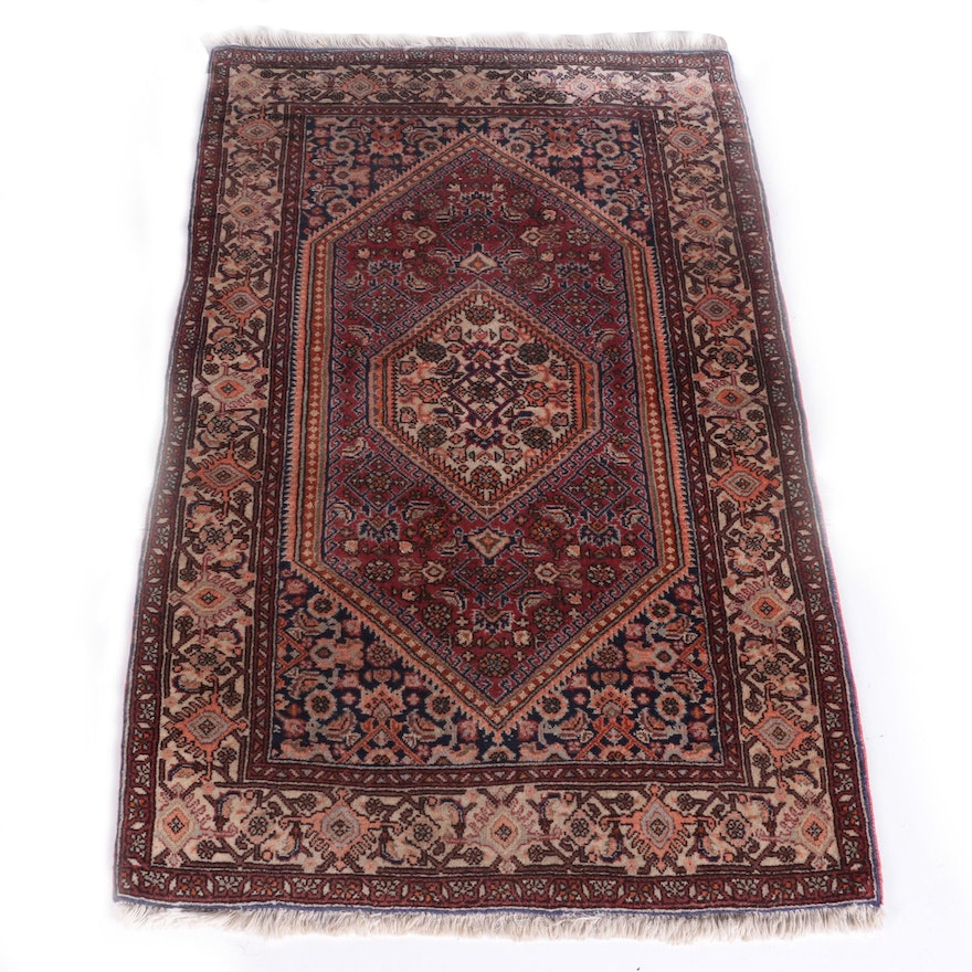 Persian Hand Knotted Kashan Silk And Wool Area Rug Ebth: Vintage Hand-Knotted Persian Bijar Area Rug : EBTH