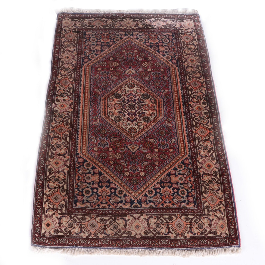 Hand Knotted Persian Hamadan Wool Area Rug Ebth: Vintage Hand-Knotted Persian Bijar Area Rug : EBTH