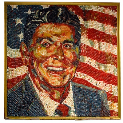 Peter Rocha Jelly Belly Mosaic Portrait of President Ronald Reagan