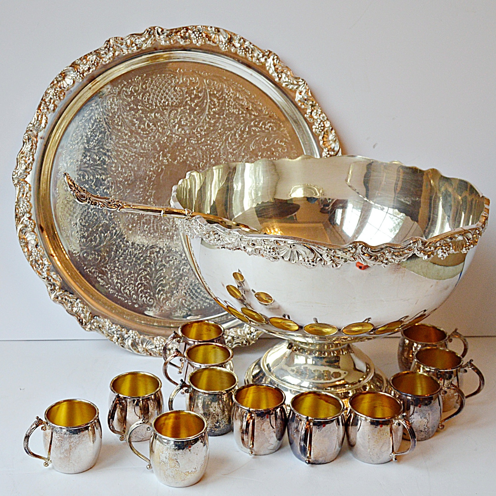 Silver Plate Punch Bowl Set ... & Silver Plate Punch Bowl Set : EBTH