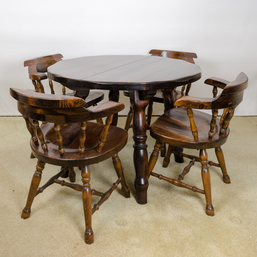 Vintage Pine Table with Leaf Inserts and Captains Chairs ... - Vintage Pine Table With Leaf Inserts And Captains Chairs : EBTH