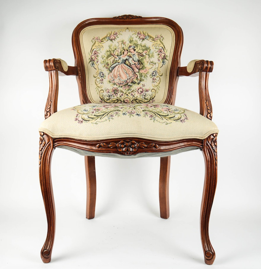 Antique upholstered chair styles - Vintage Louis Xv Style Upholstered Chair