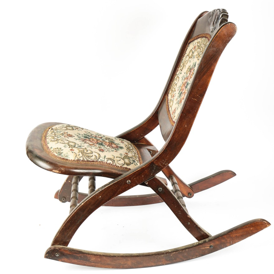 Antique Victorian Folding Rocking Chair ... - Antique Victorian Folding Rocking Chair