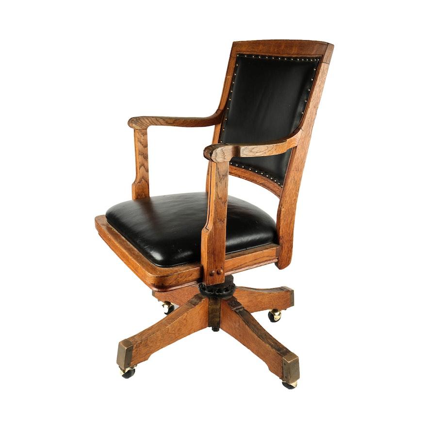 Vintage Oak Desk Chair By Milwaukee Chair Company Ebth