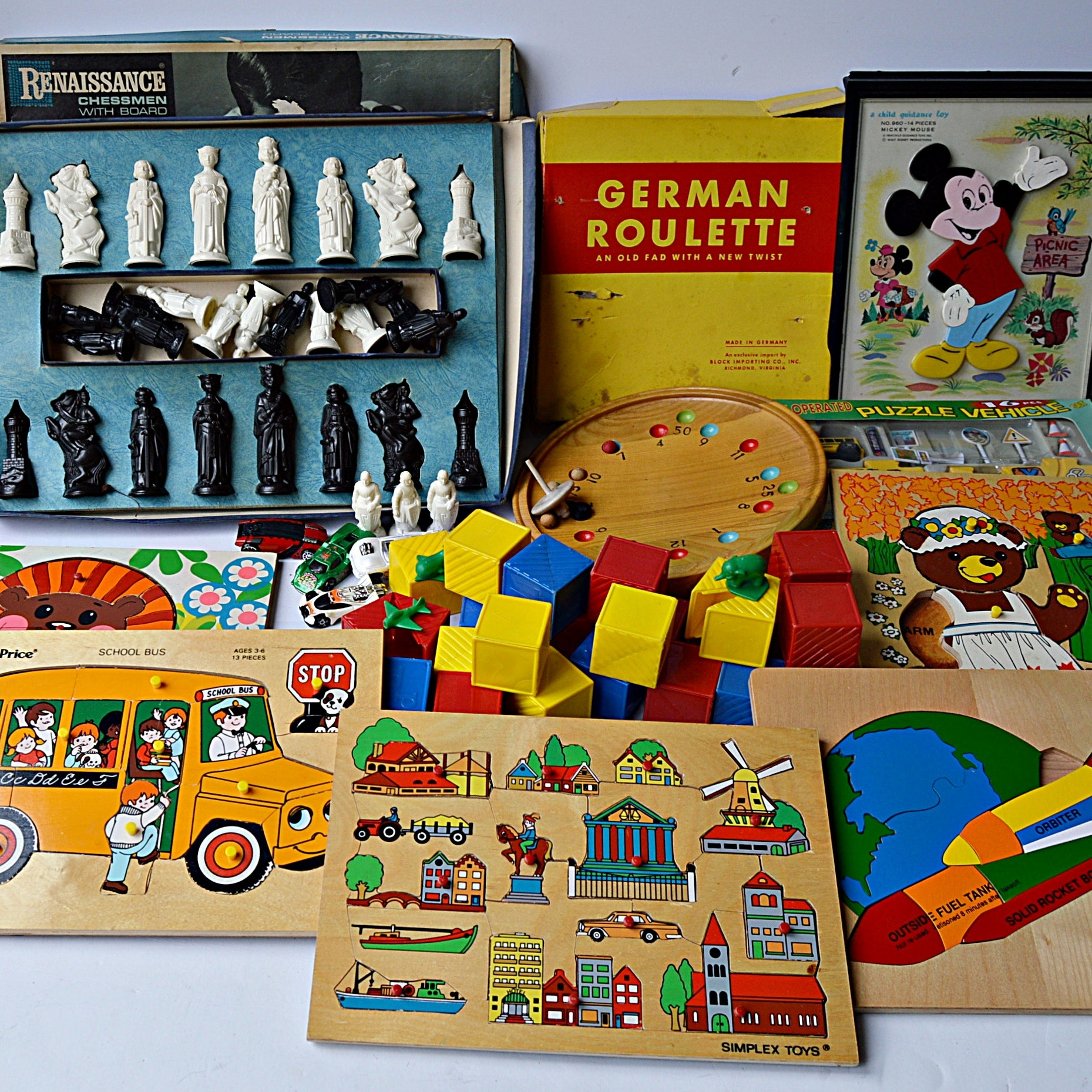 Vintage Children's Wooden Puzzles, Board Games