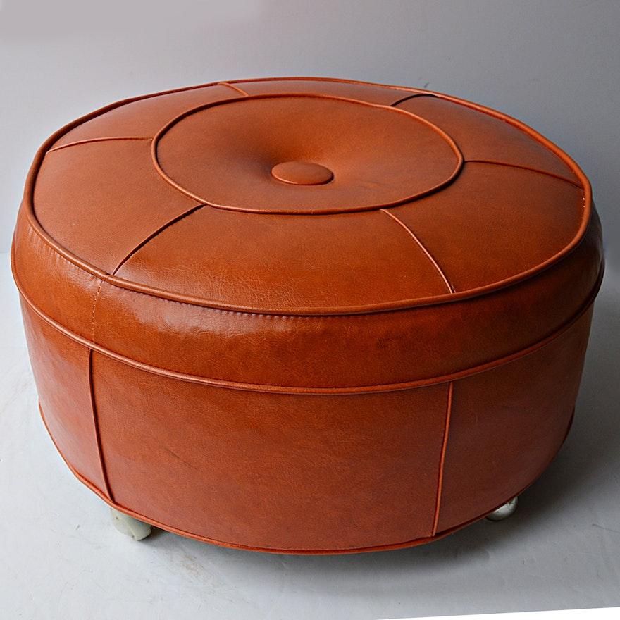 Magnificent Mid Century Modern Orange Vinyl Ottoman Gamerscity Chair Design For Home Gamerscityorg