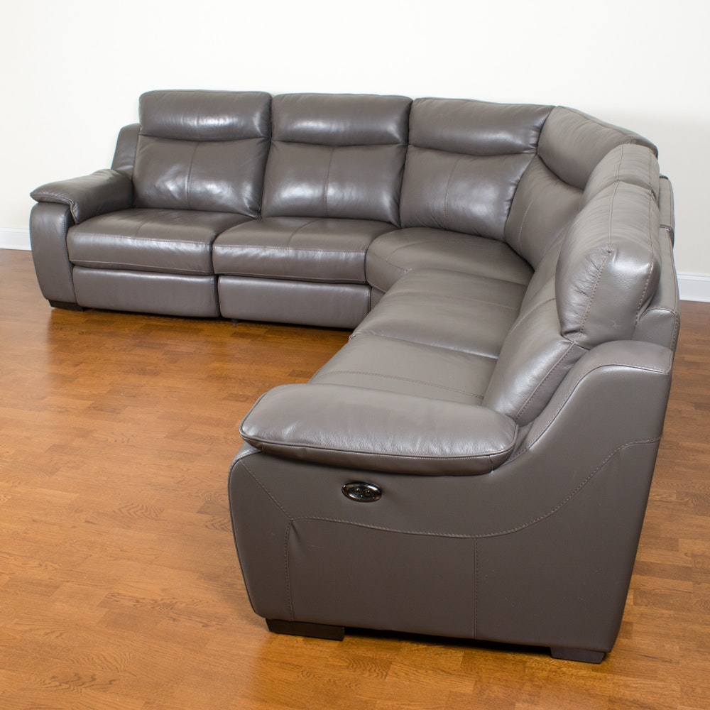 Bonded Leather Sectional Sofa With Electric Controls