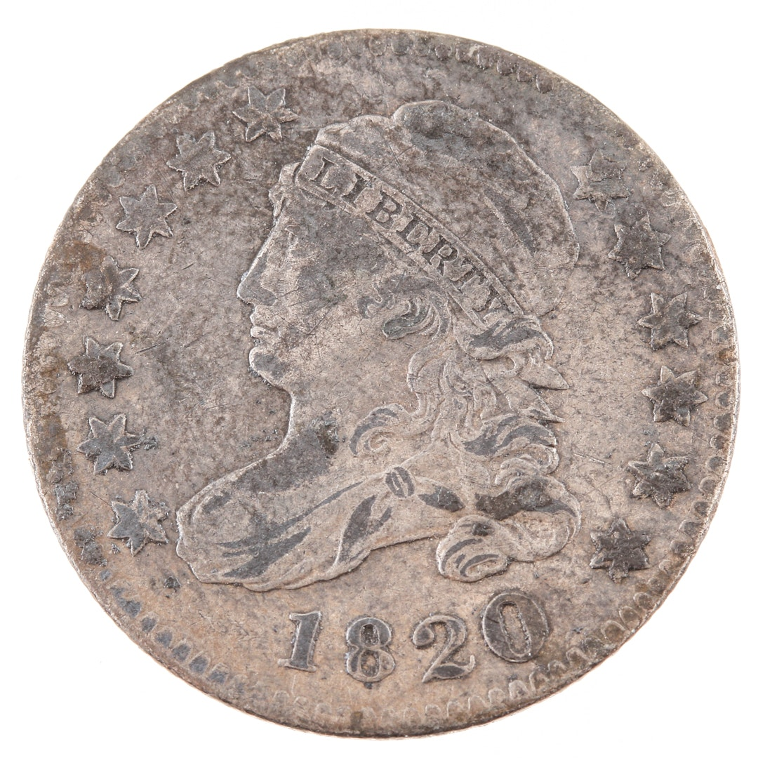 1820 Capped Bust Silver Dime, Large 0 Variety