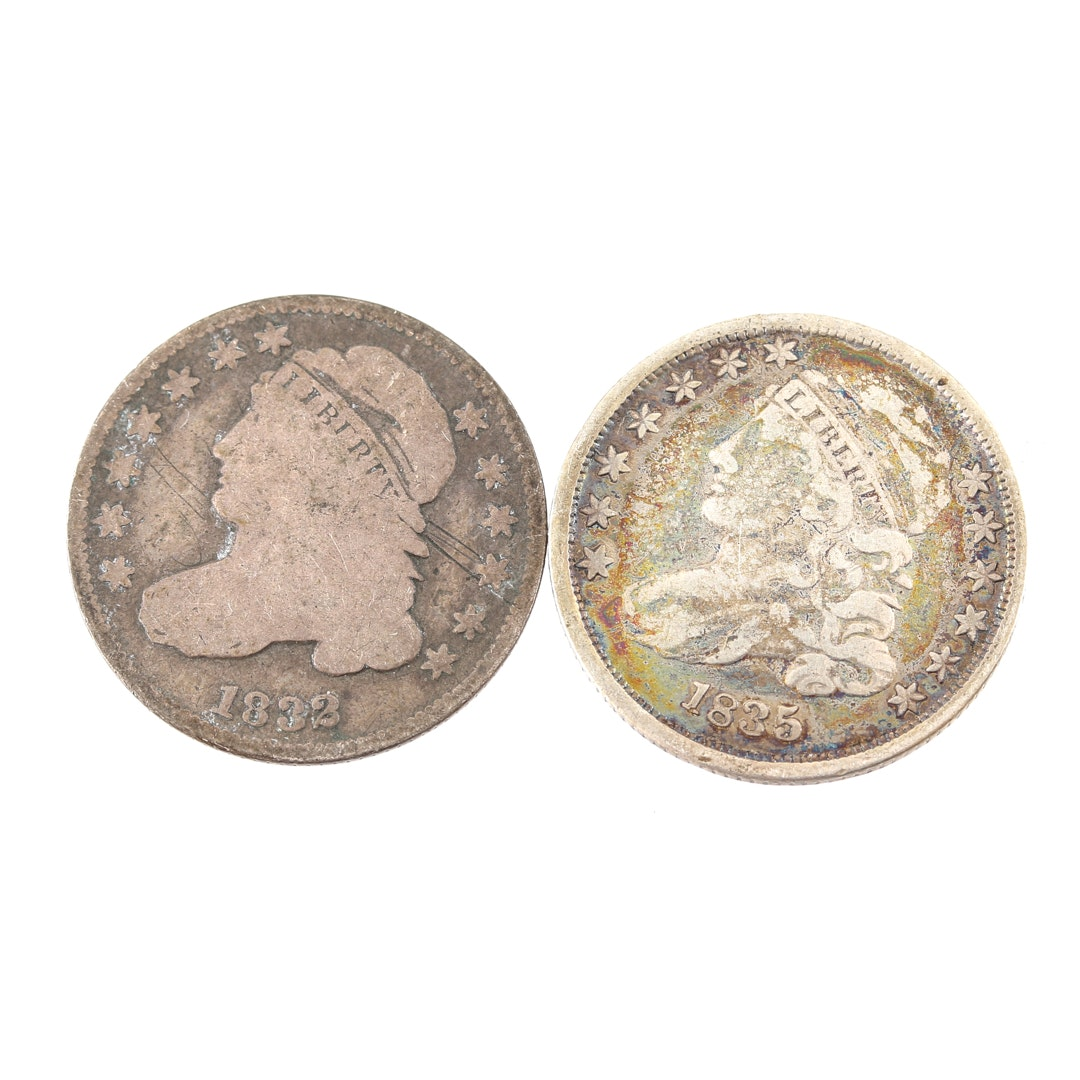 Two Capped Bust Silver Dimes