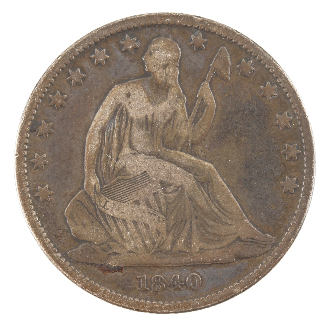 1840 Liberty Seated Silver Half Dollar, Scarce Medium Letters Variety