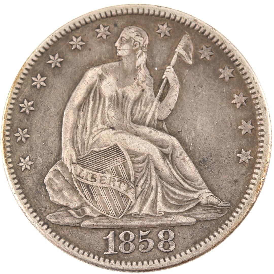1858 Liberty Seated Silver Half Dollar