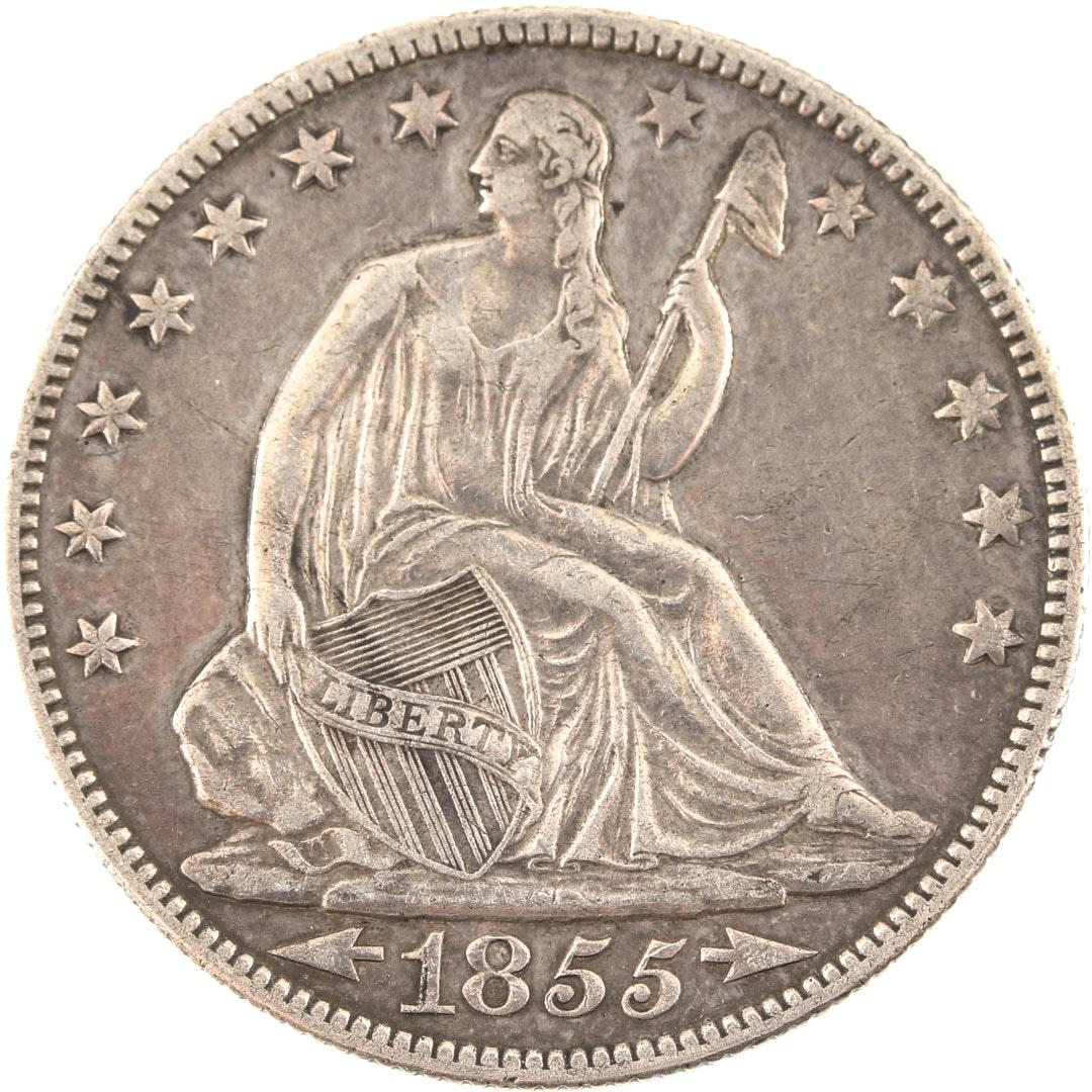 1855 O Liberty Seated Silver Half Dollar