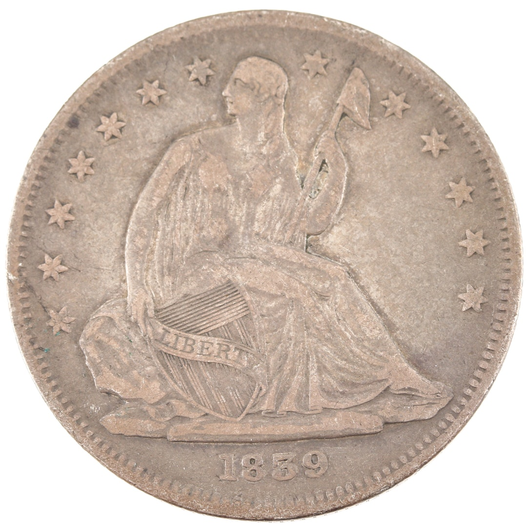1839 Liberty Seated Silver Half Dollar, No Drapery From Elbow Variety