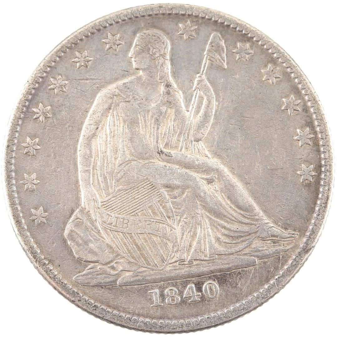 1840 O Liberty Seated Silver Half Dollar
