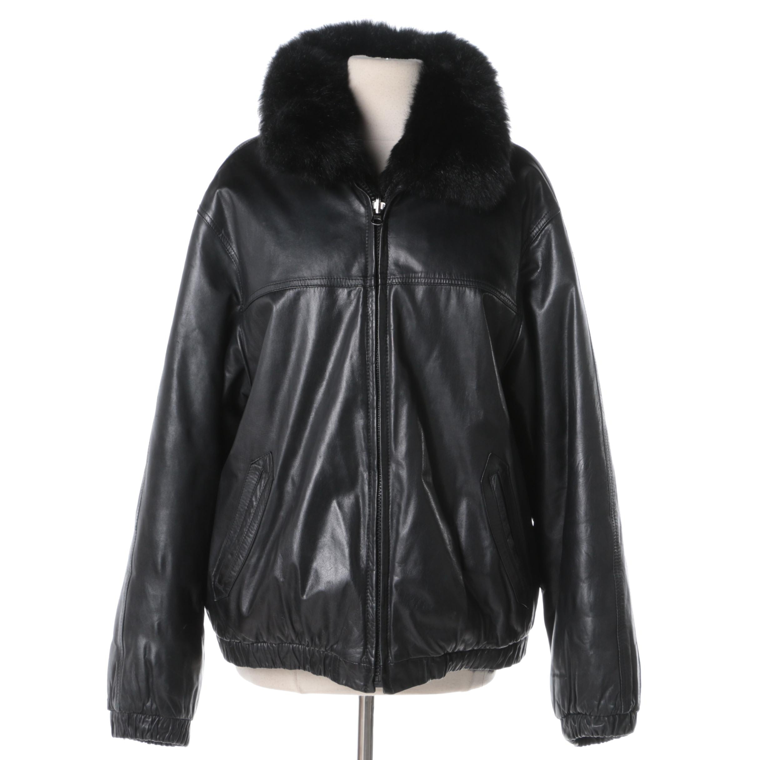 Black leather jacket fur trim