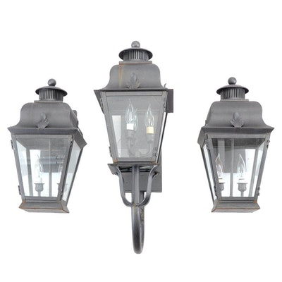 Vintage outdoor lighting used exterior lighting fixtures in set of wall mounted electric lanterns aloadofball Choice Image