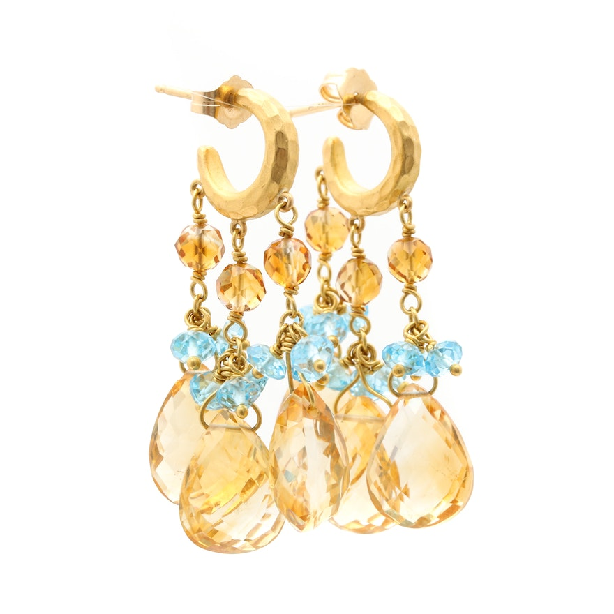 22k yellow gold citrine and blue topaz chandelier earrings ebth 22k yellow gold citrine and blue topaz chandelier earrings mozeypictures Gallery
