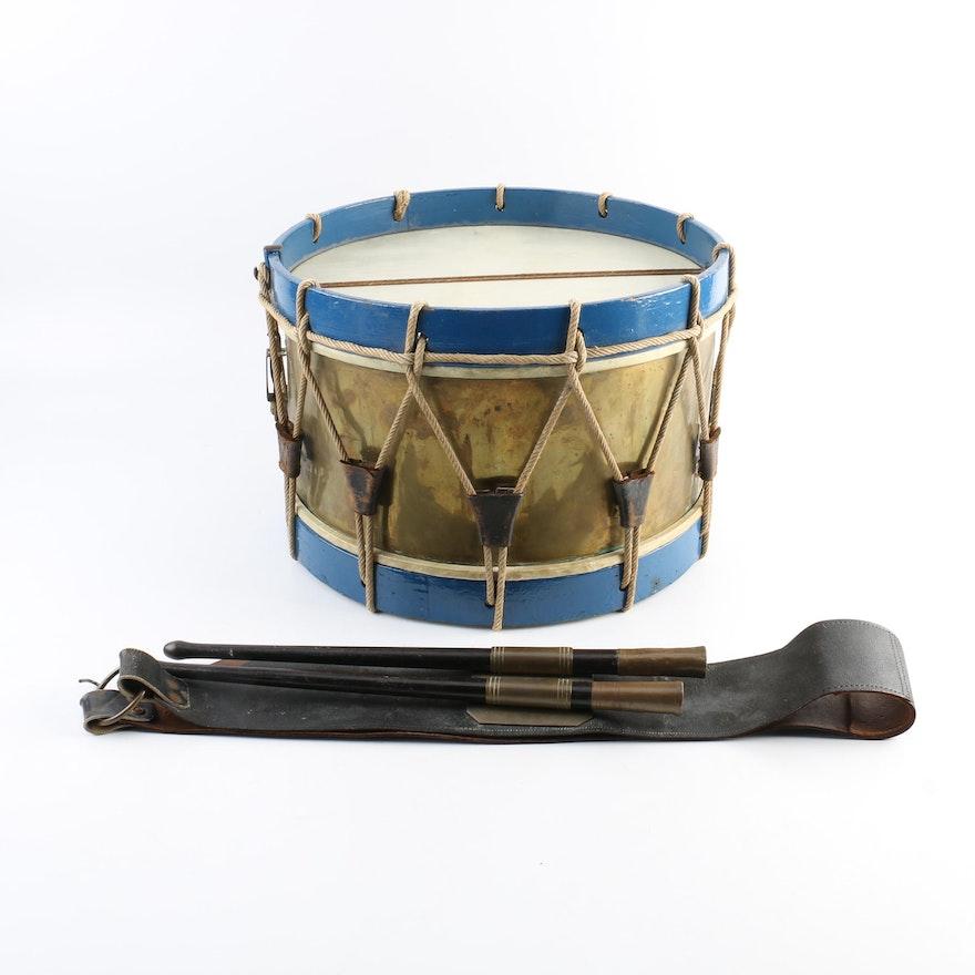 vintage marching band drum strap and drumsticks ebth. Black Bedroom Furniture Sets. Home Design Ideas