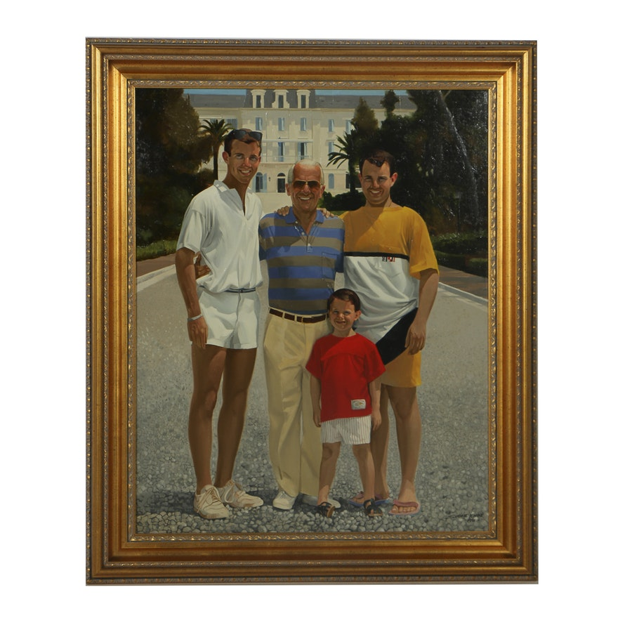 Simmie Knox Oil Painting on Canvas Portrait of a Father and Sons : EBTH