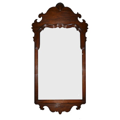 Queen Anne Style Mahogany Wall Mirror - Vintage Mirrors Auction Antique Wall And Floor Mirrors In