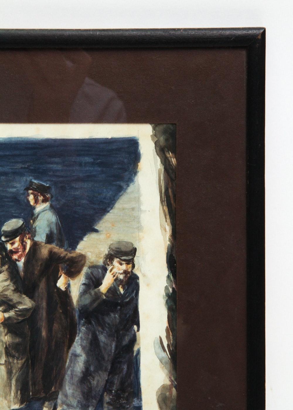 Judaica Watercolor Painting Of Men Ebth