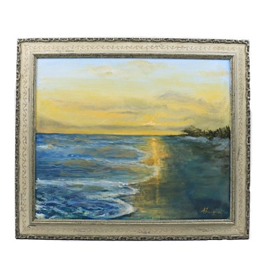 Original Seascape Oil Painting on Canvas, Signed