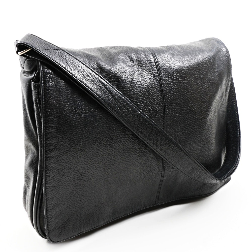 Osgoode Marley Black Leather Computer/Messenger Bag