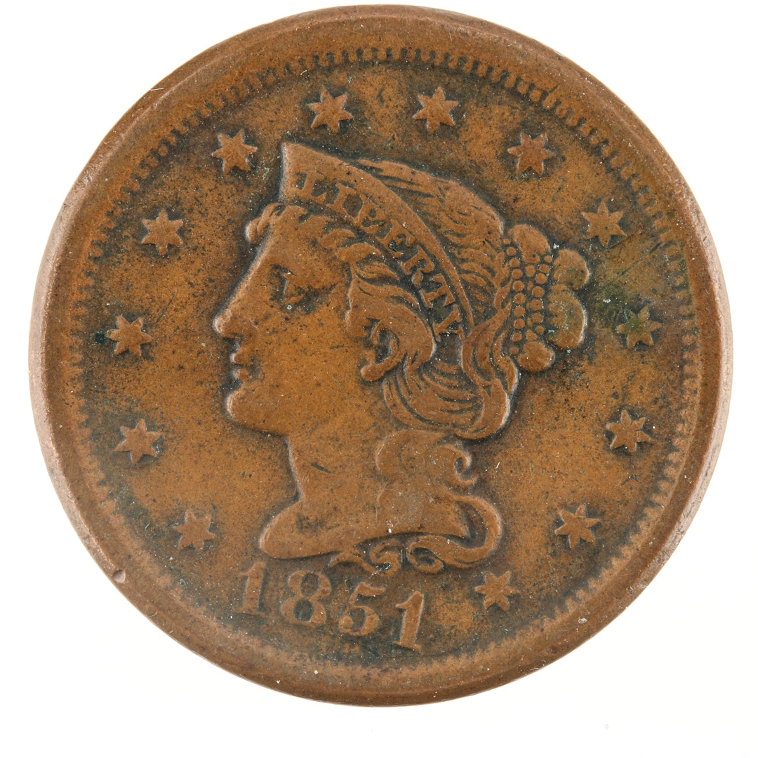 1851 Large Cent 'Young Head' Variety