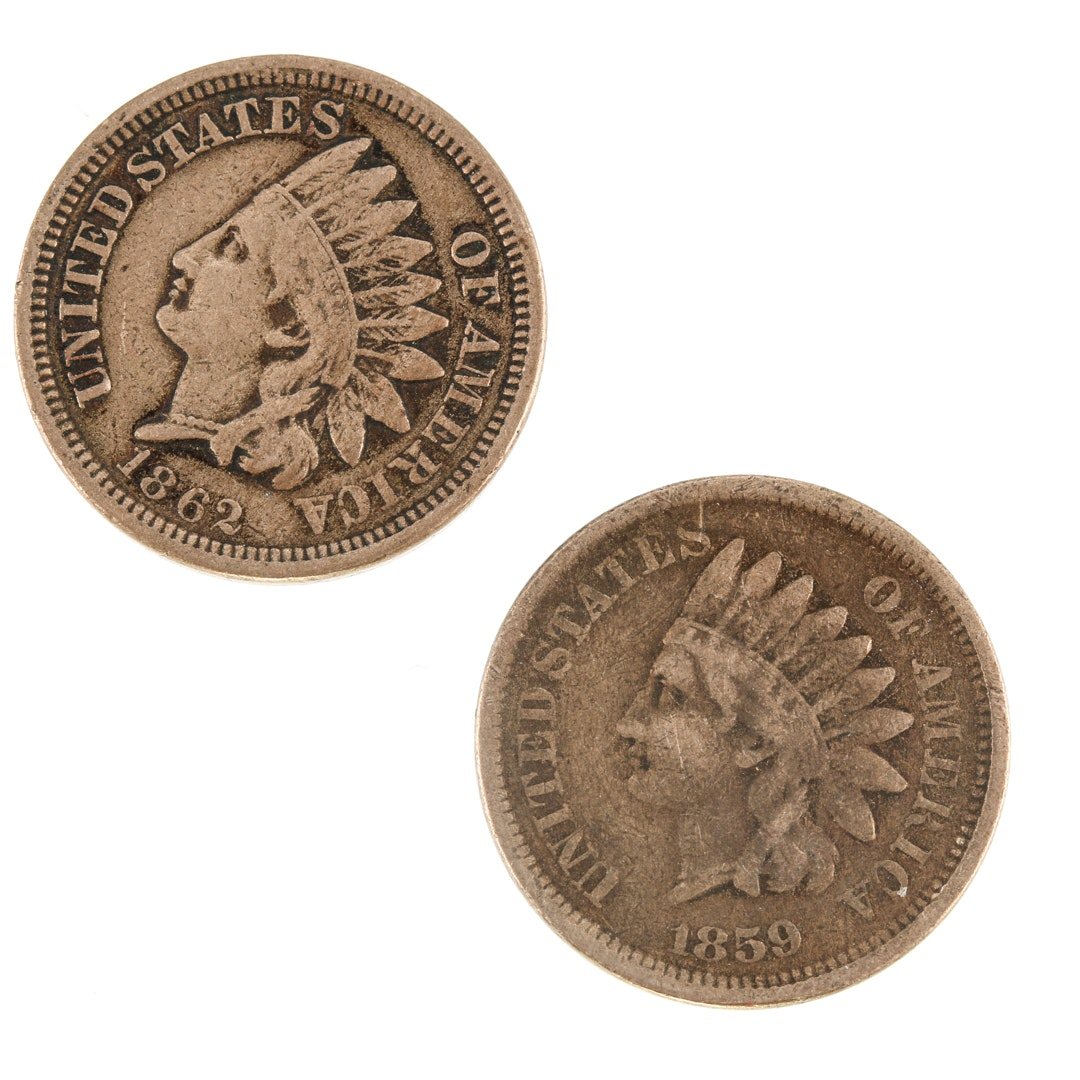 1859 and 1862 Indian Head Cents