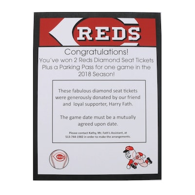 Two Cincinnati Reds Diamond Seat Tickets and Parking Pass for the 2018 Season