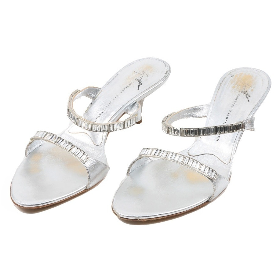 Guiseppe Zanotti Silver Dress Sandals with Rhinestones