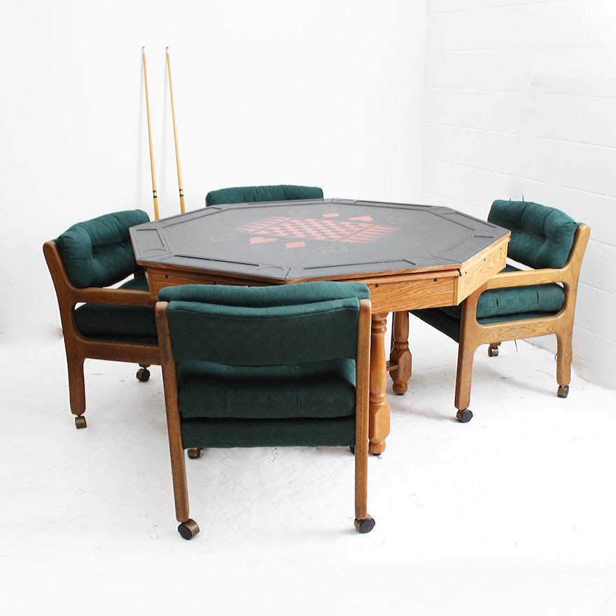 Multi game table with rolling chairs ebth for 12 seater poker table