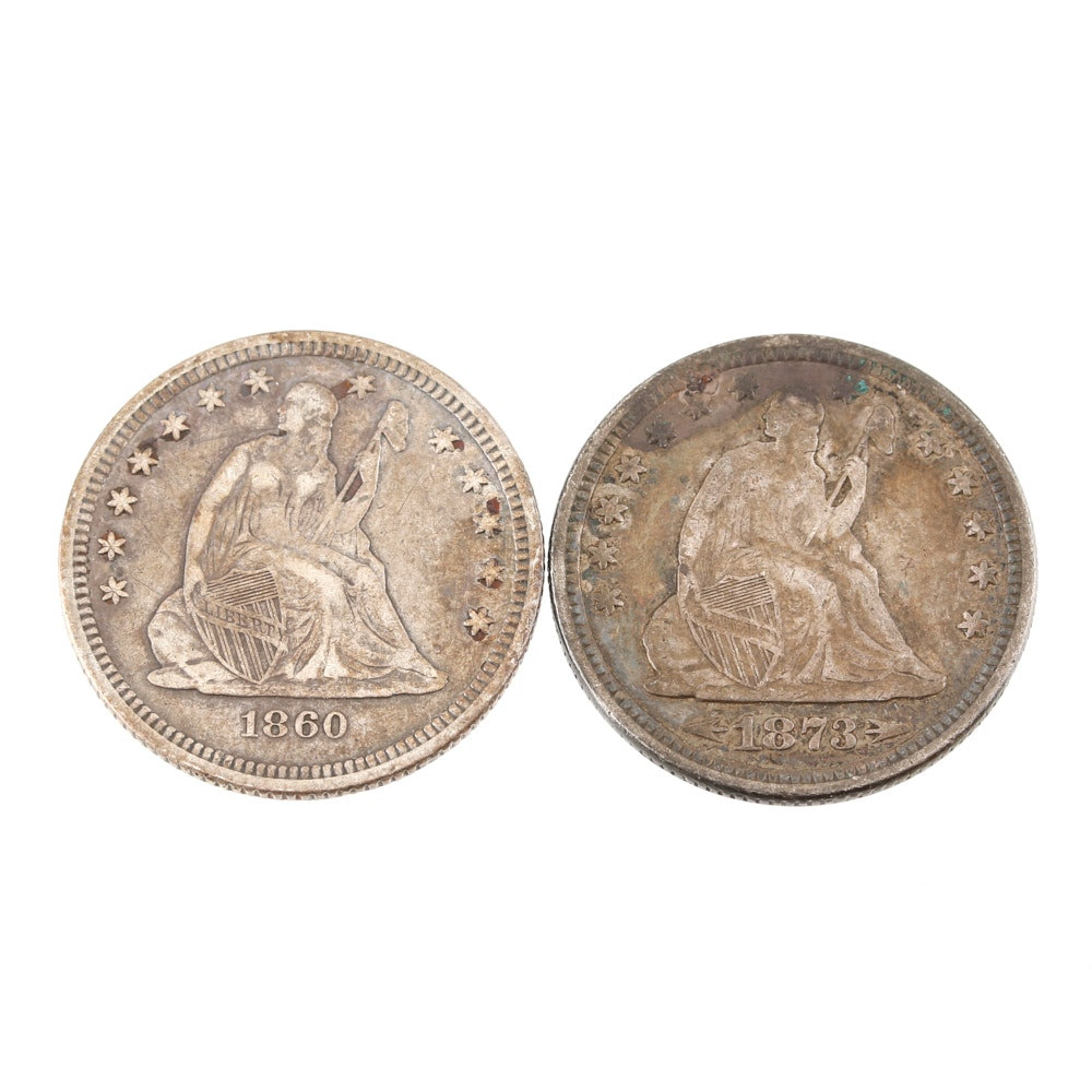 1860 O and 1873 Seated Liberty Silver Quarters
