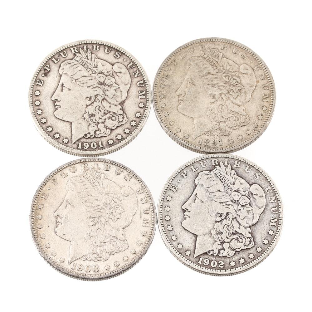 1891 O, 1901 O, 1902 and 1921 Morgan Silver Dollars