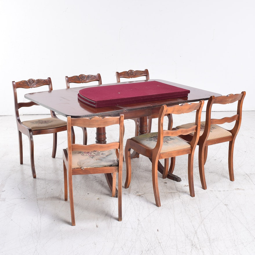 22214fdfdb14 Duncan Phyfe Style Mahogany Dining Table and Six Chairs   EBTH