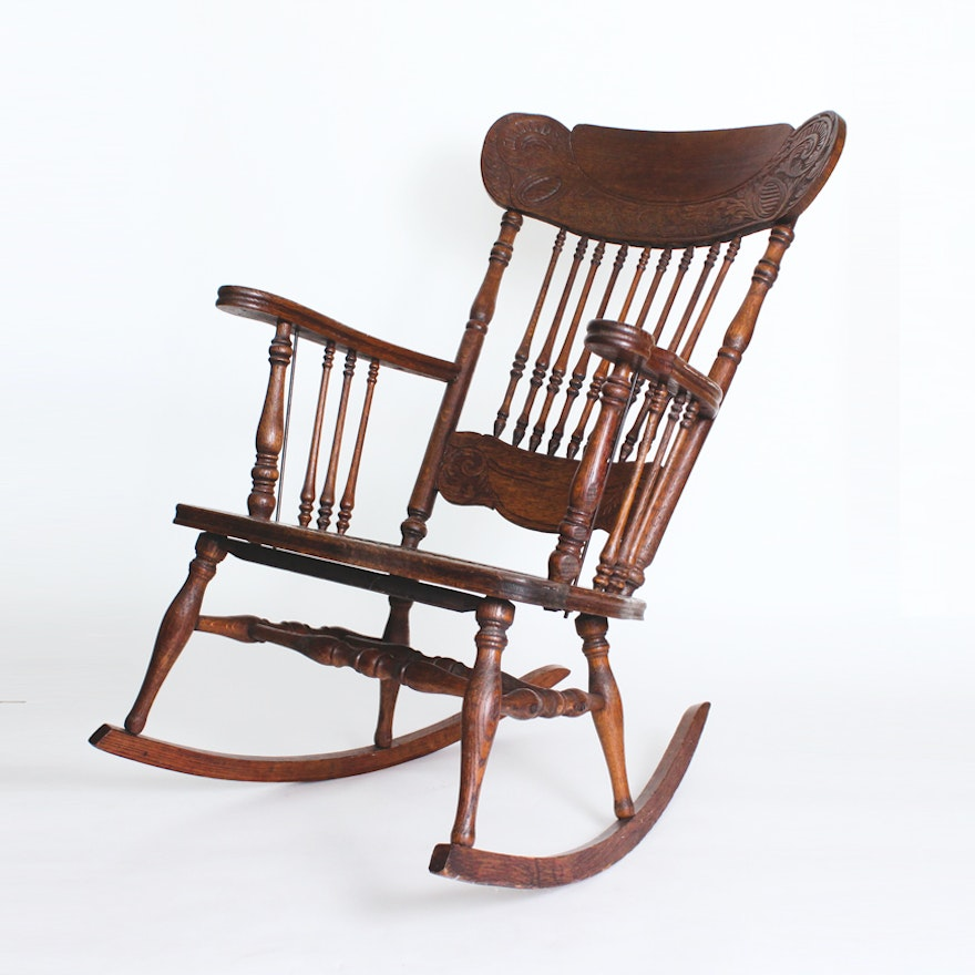Antique Wooden Rocking Chair ... - Antique Wooden Rocking Chair : EBTH