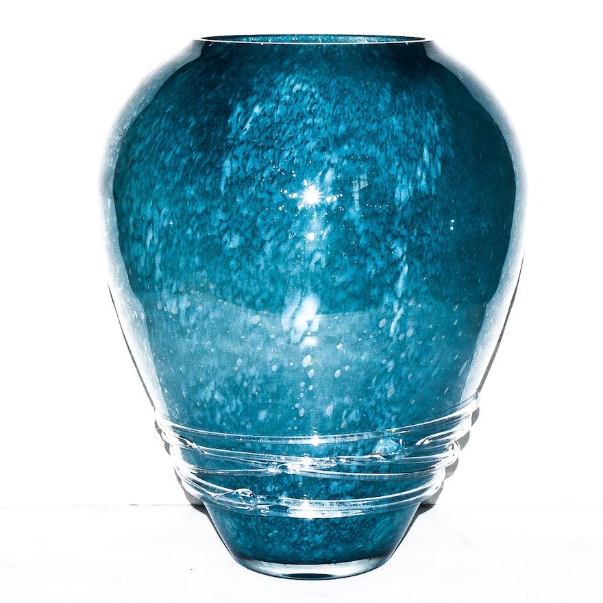 Blue Blown Glass Vase Ebth