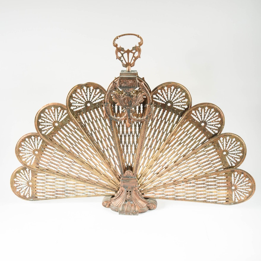"Vintage Brass ""Peacock"" Folding Fireplace Screen from EBTH.com"