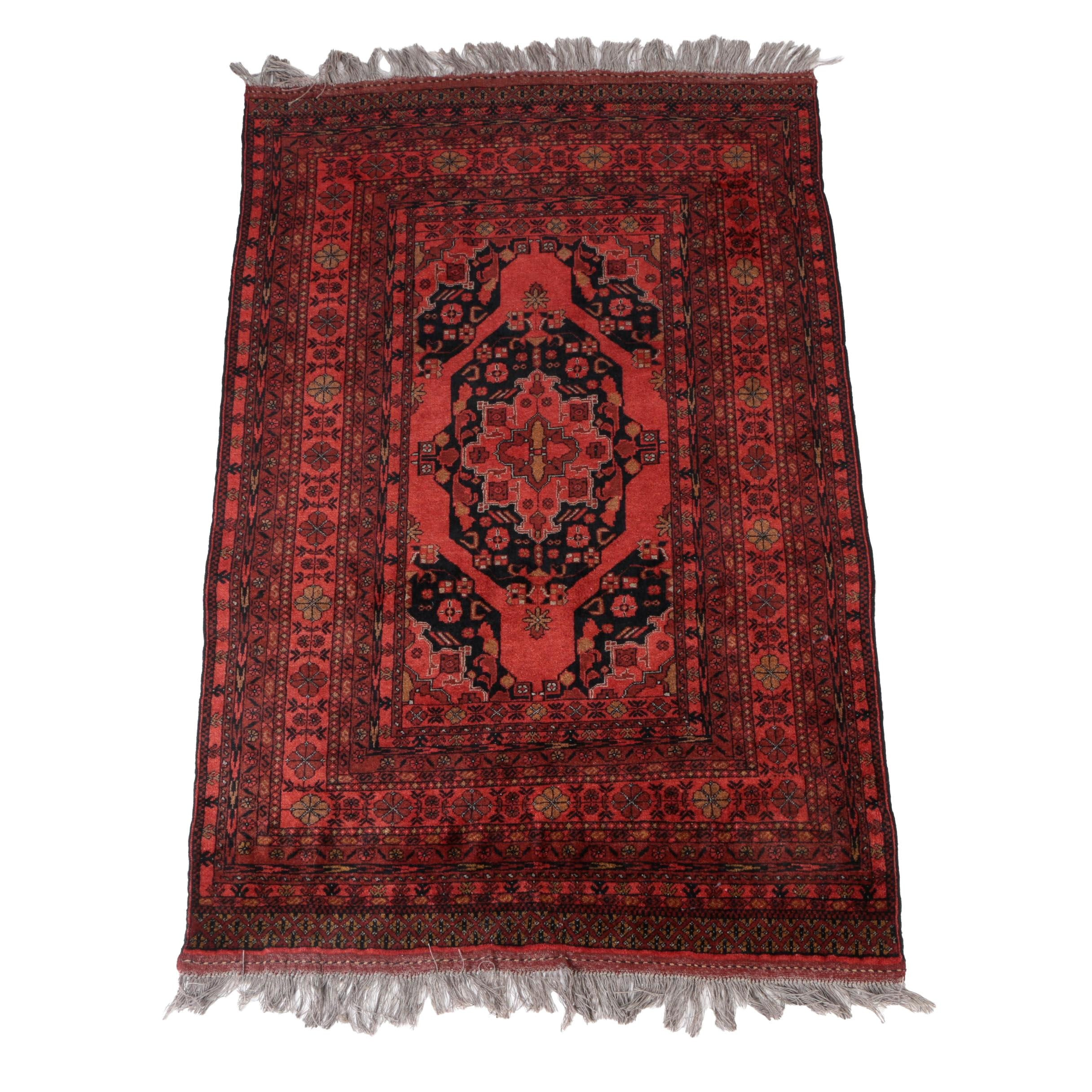 Hand Knotted Indo Turkmen Wool Area Rug