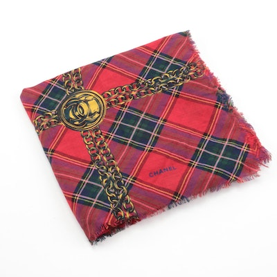 Chanel Red and Gold Plaid Scarf