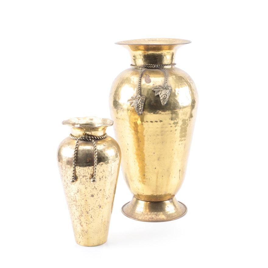 Hammered Brass Flower Vases Ebth