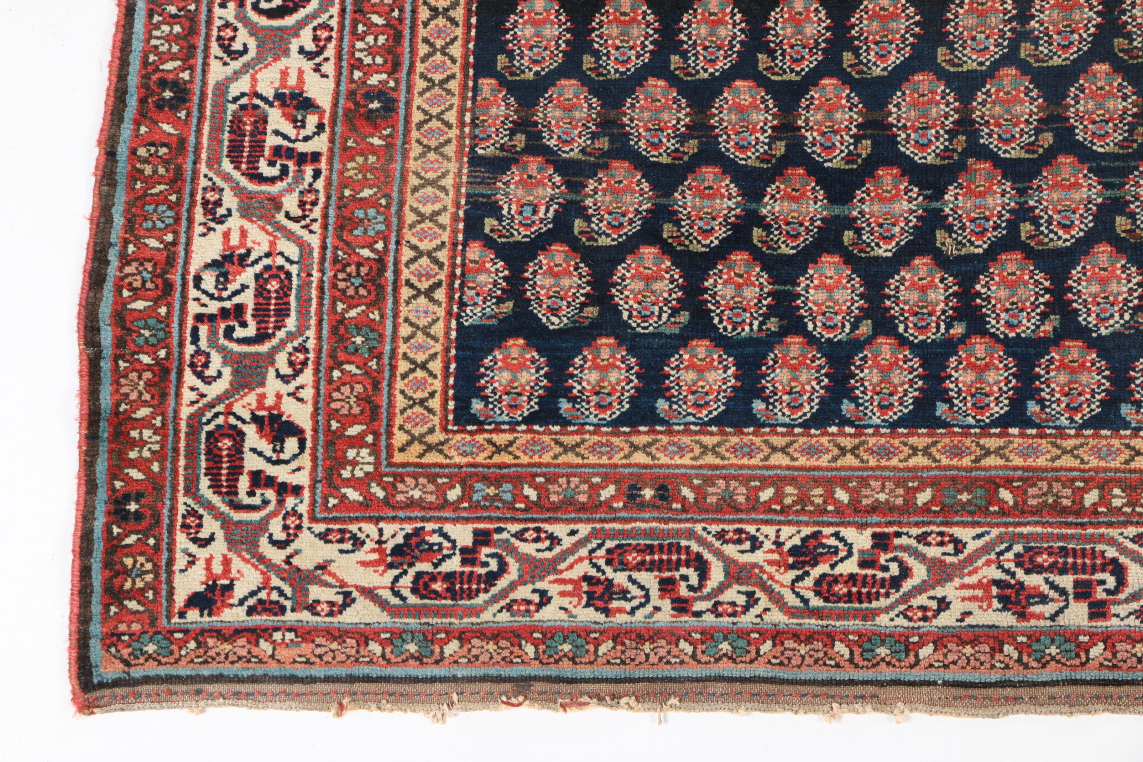 Hand-Knotted Persian Serabend Mir-a-Boteh Wool Area Rug : EBTH
