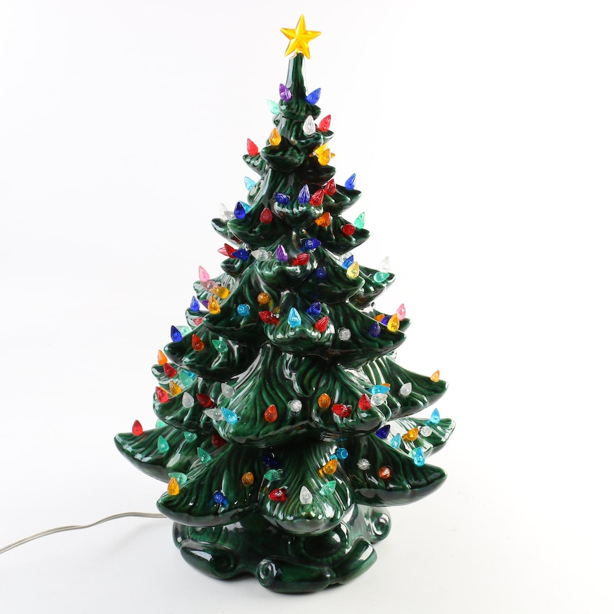 ceramic christmas tree lamp