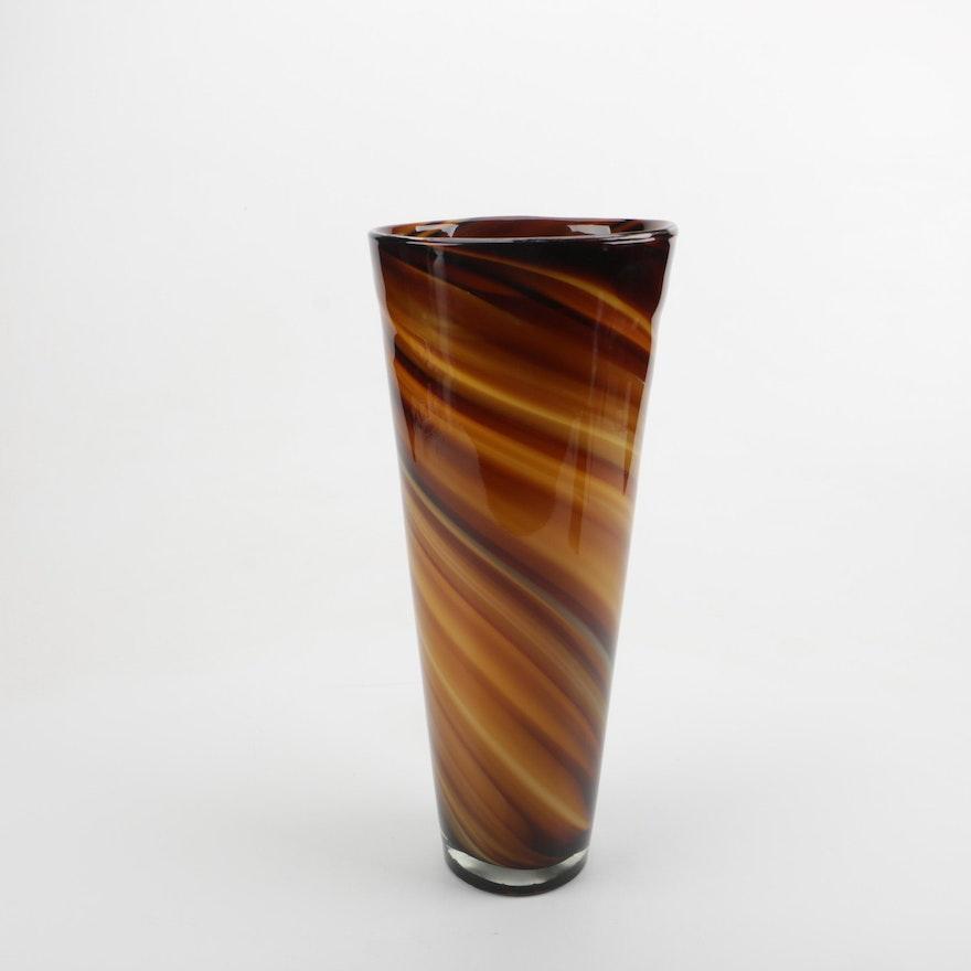 Z Gallerie Chocolate Swirl Vase Ebth